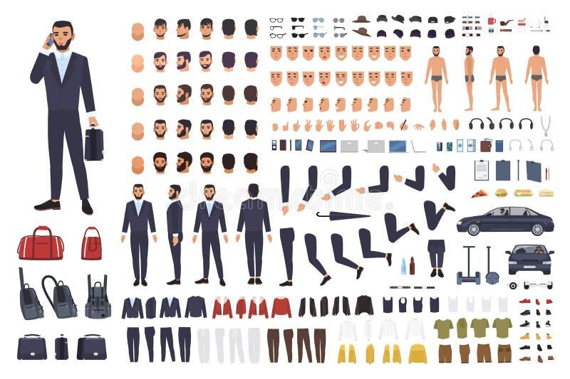 Kaukasische zakenman of bediendenverwezenlijkingsreeks of DIY-uitrusting Bundel van de mannelijke lichaamsdelen van het beeldverh stock illustratie