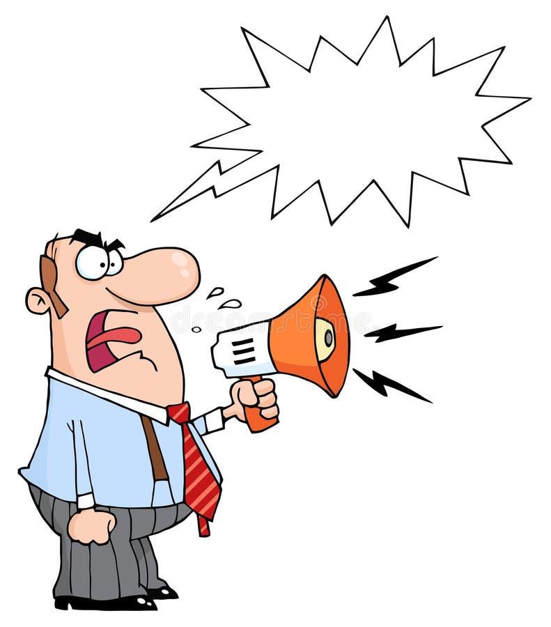 Kaukasische zakenman die door een megafoon schreeuwt royalty-vrije illustratie