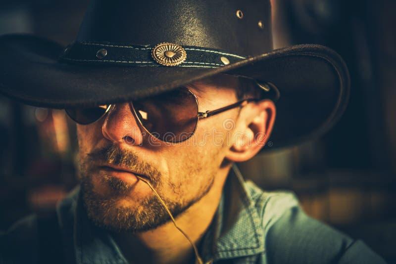 Kaukasischer Cowboy Portrait lizenzfreie stockbilder