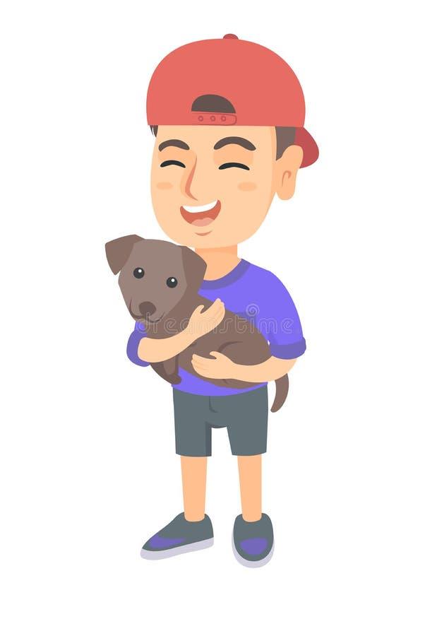 Kaukasischer glücklicher Junge in einer Kappe, die einen Hund hält stock abbildung