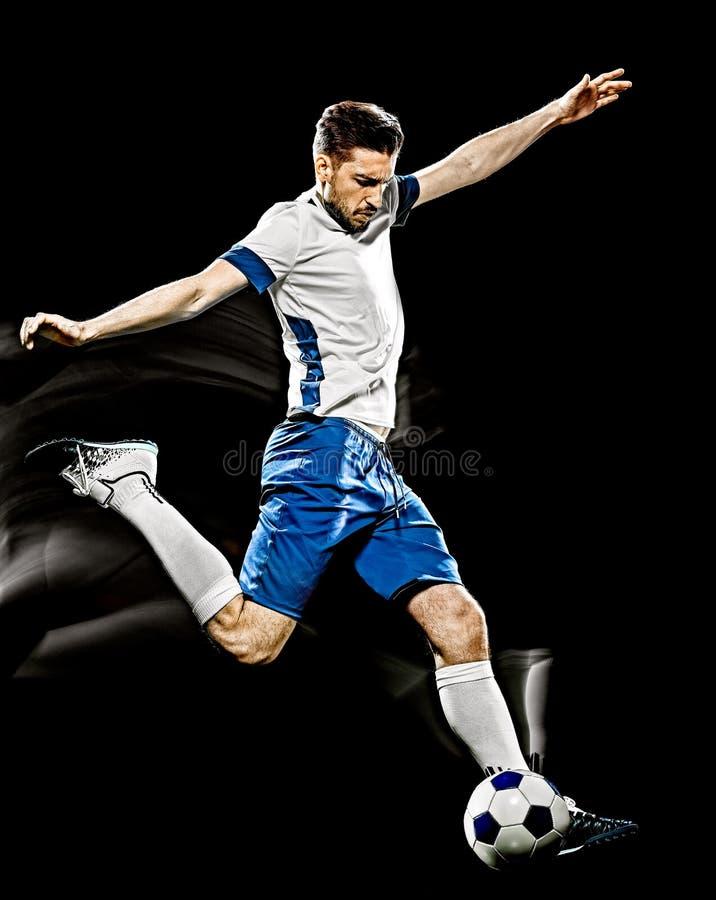 Kaukasischer Hintergrundlichtmalerei des Fu?ballspielers Mann lokalisierte schwarze lizenzfreie stockfotos