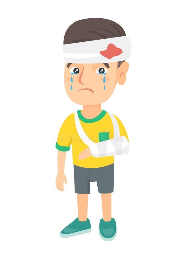 Kaukasischer Junge mit dem gebrochenen Arm und verbundenem Kopf stock abbildung