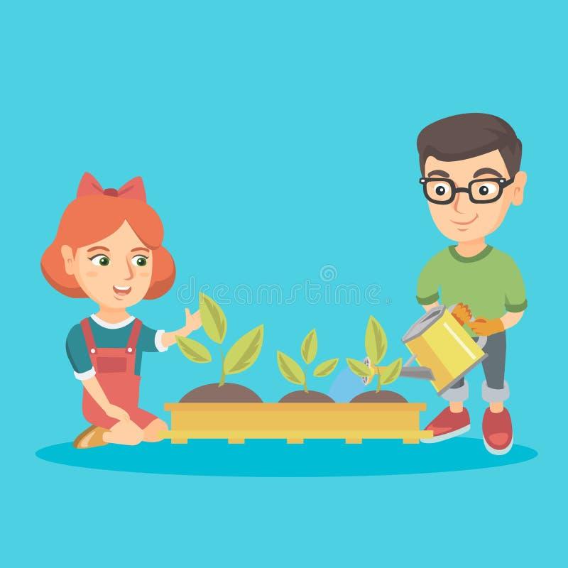 Kaukasischer Junge und Mädchen, die einen Sprössling pflanzt lizenzfreie abbildung