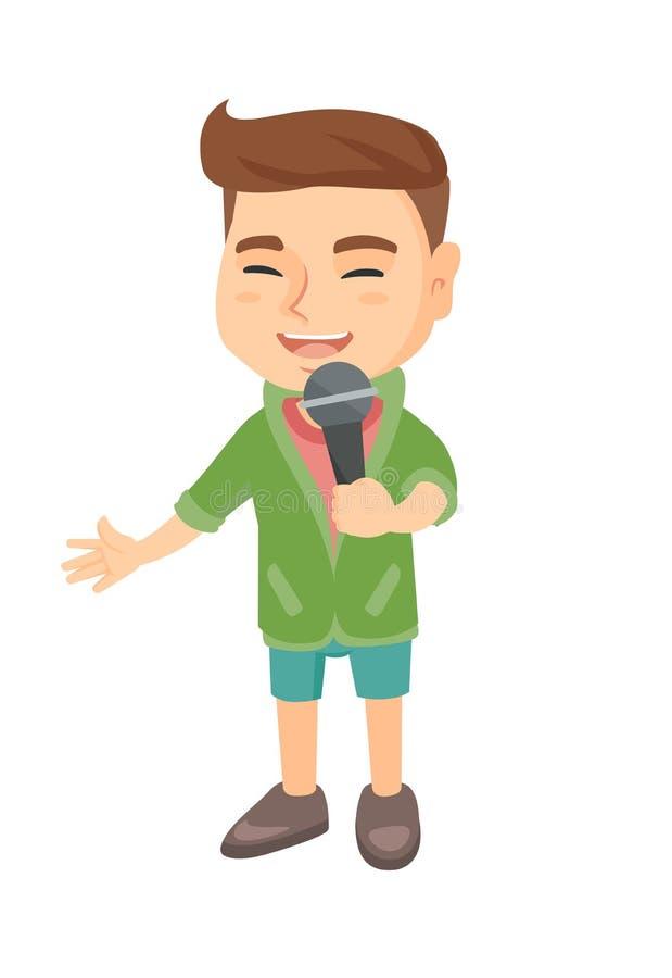 Kaukasischer kleiner Junge, der in ein Mikrofon singt vektor abbildung