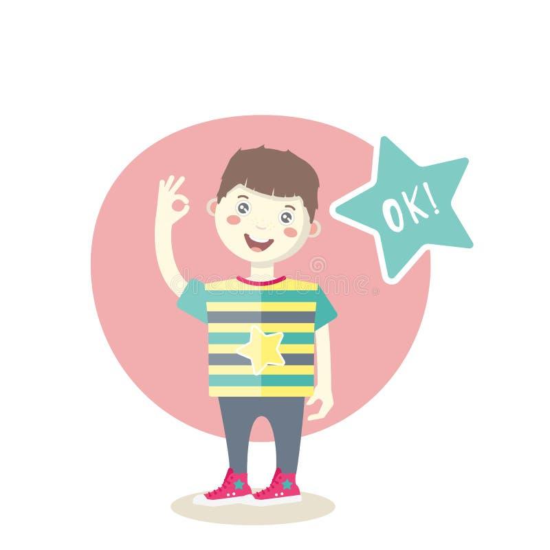 Kaukasischer kleiner lächelnder Junge, der ein okayzeichen zeigt lizenzfreie abbildung