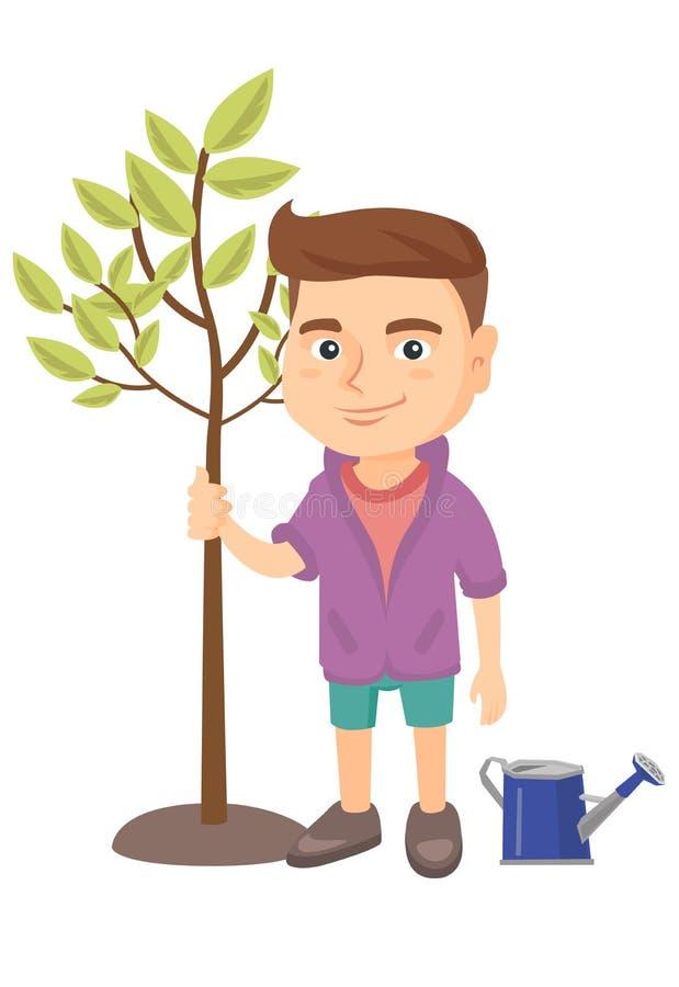 Kaukasischer lächelnder Junge, der einen Baum pflanzt stock abbildung