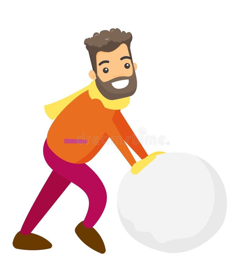 Kaukasischer Mann, der einen großen Schneeball für Schneemann macht stock abbildung