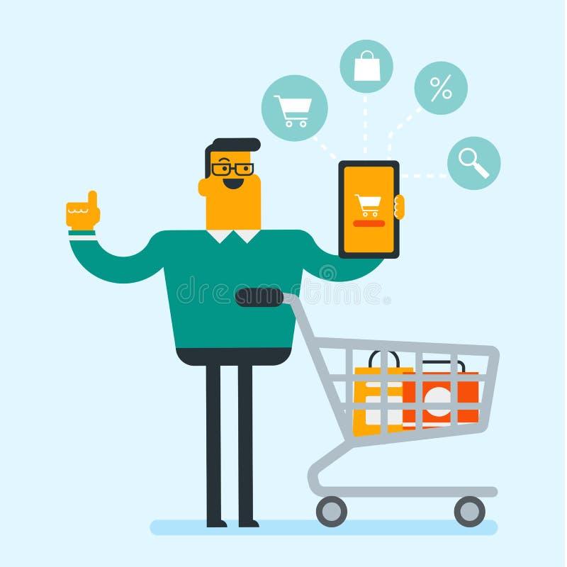 Kaukasischer Mann, der Tablette für das on-line-Einkaufen verwendet lizenzfreie abbildung