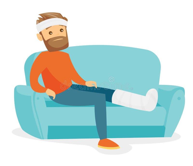 Kaukasischer Mann mit dem gebrochenen Bein, das auf der Couch sitzt vektor abbildung