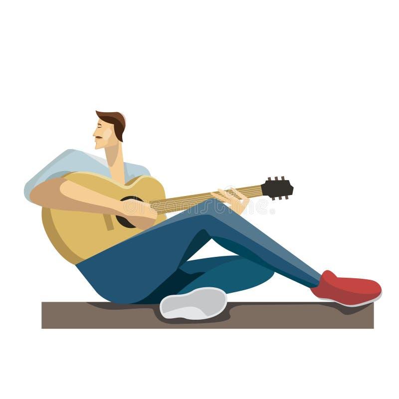 Kaukasischer Musiker, der mit der Gitarre in den Händen sitzt Hippie-Mann, der die Akustikgitarre spielt vektor abbildung