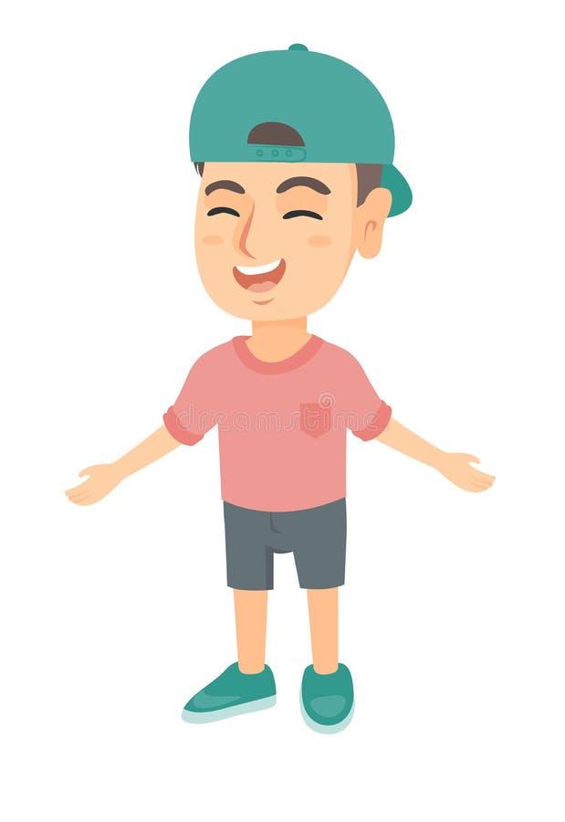 Kaukasischer netter Junge in einem Kappenlachen lizenzfreie abbildung