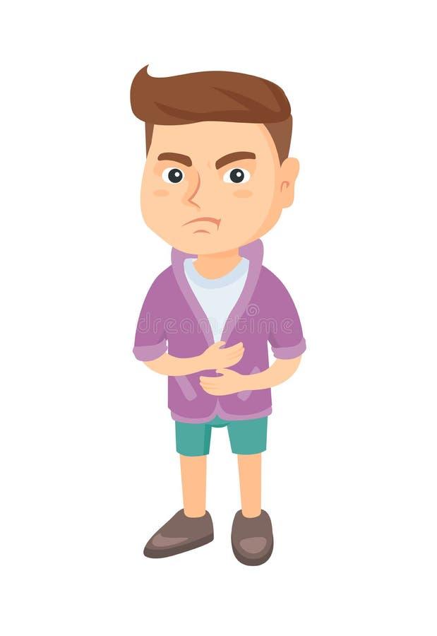 Kaukasischer trauriger Junge, der Magenschmerzen hat stock abbildung