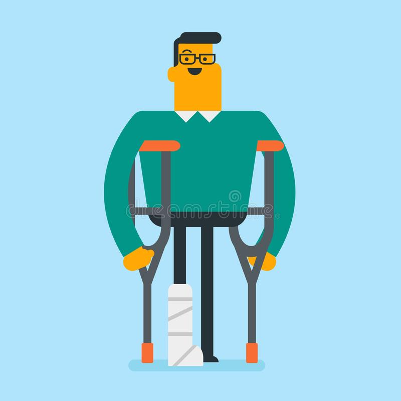 Kaukasischer weißer Mann mit dem gebrochenen Bein und den Krücken lizenzfreie abbildung