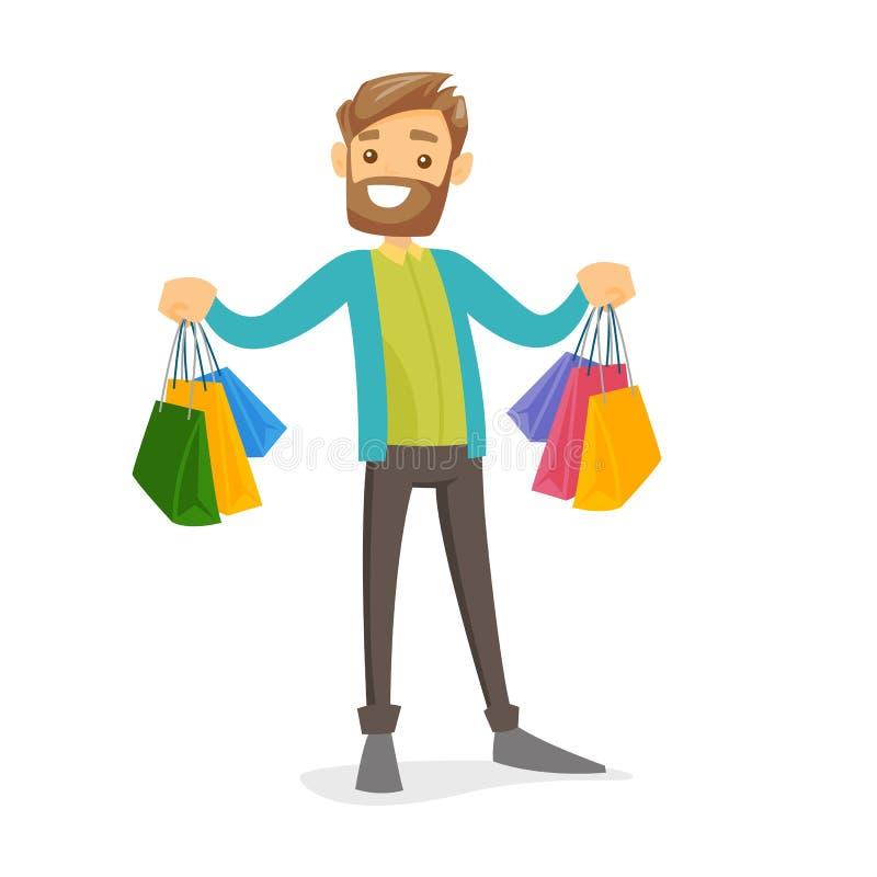 Kaukasischer weißer Verbraucher, der Einkaufstaschen hält vektor abbildung