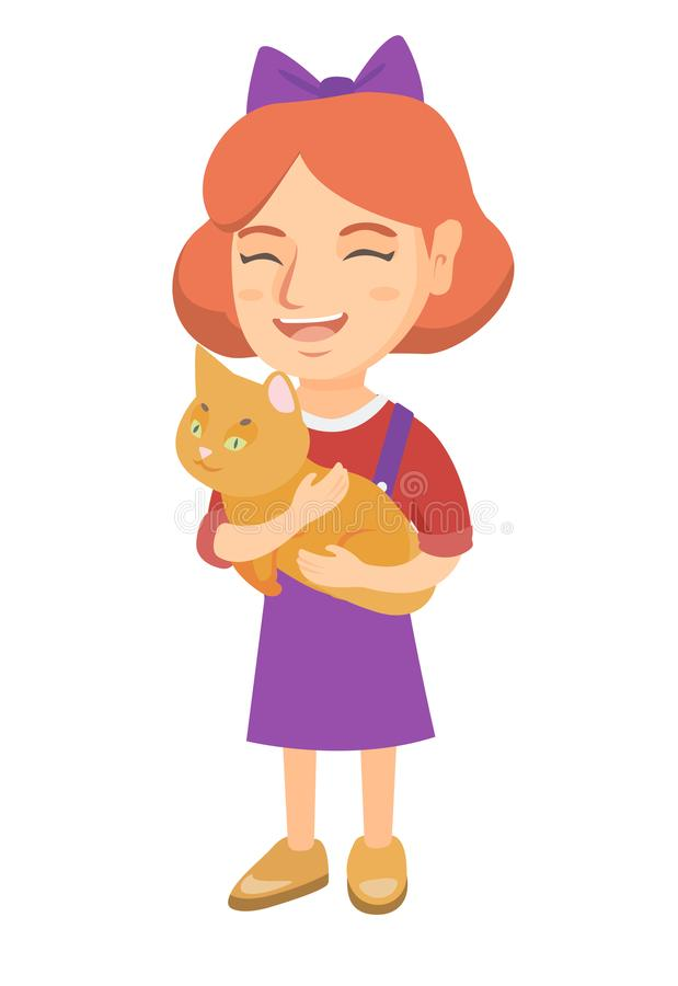 Kaukasisches glückliches Mädchen, das eine Katze hält lizenzfreie abbildung