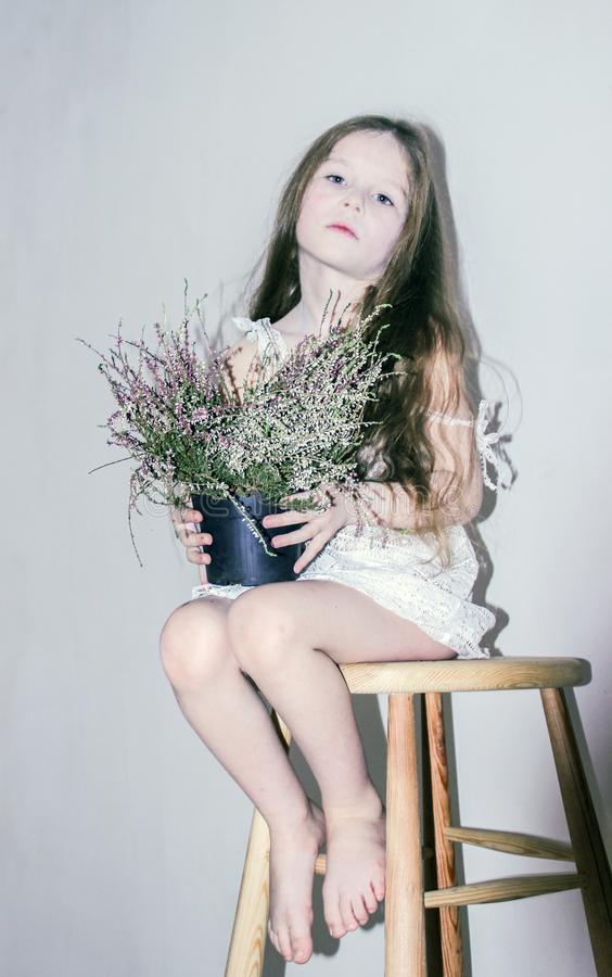 Kaukasisches Mädchen gelehnt auf einem Holzstuhl in einem weißen Kleid auf einem weißen Hintergrund lizenzfreie stockfotografie
