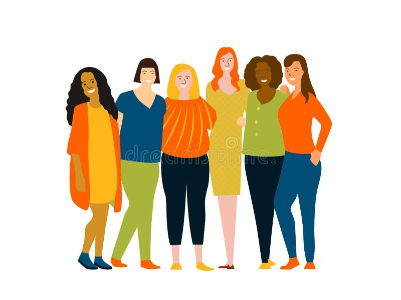 Kaukaska, Afrykańska, Azjatycka, Indiańska kobiety drużyna, Grupa szczęśliwi i rozochoceni ludzie, różny pochodzenie etniczne kol ilustracji