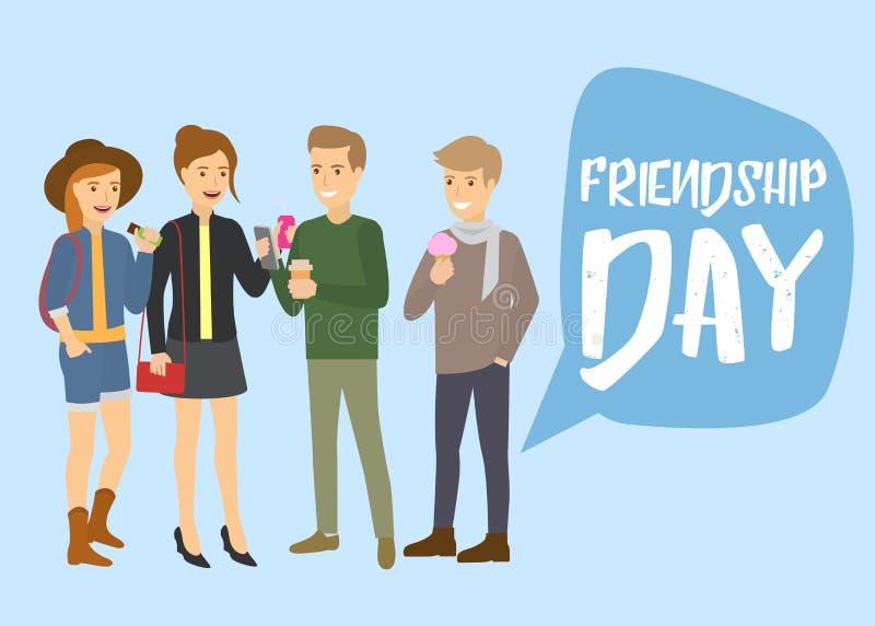 Kaukaska biel grupa nastoletni przyjaciele patrzeje smartphone, jedzący lody i roześmianą wektorową kreskówki ilustrację ilustracji