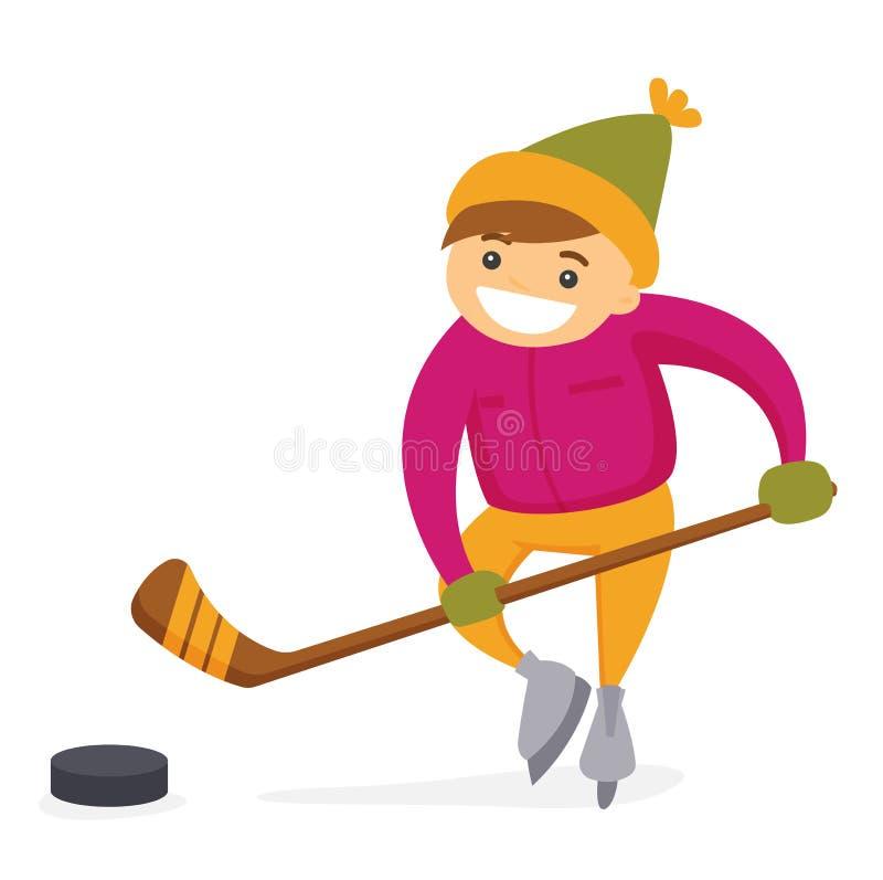 Kaukaska chłopiec bawić się hokeja na plenerowym lodowisku ilustracja wektor