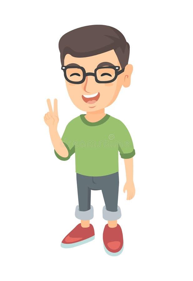 Kaukaska chłopiec pokazuje zwycięstwo gest ilustracji