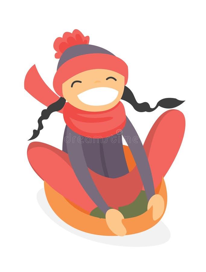 Kaukaska dziewczyna sledding w dół na śnieżnej gumowej tubce ilustracji