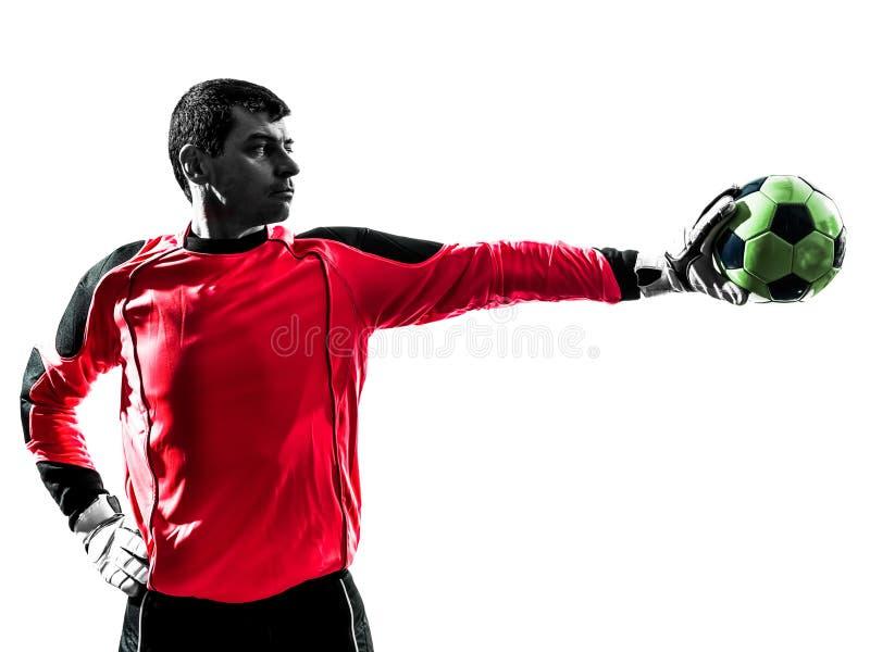 Kaukaska gracza piłki nożnej bramkarza mężczyzna powstrzymywania piłki jeden ręka s obrazy royalty free