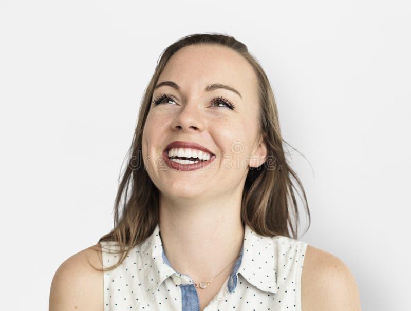 Kaukaska kobieta Uśmiecha się Szczęśliwego Rozochoconego pojęcie zdjęcie stock