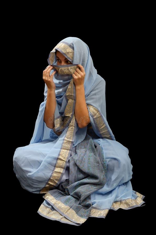 Kaukaska kobieta w Malezyjskim sari obrazy royalty free