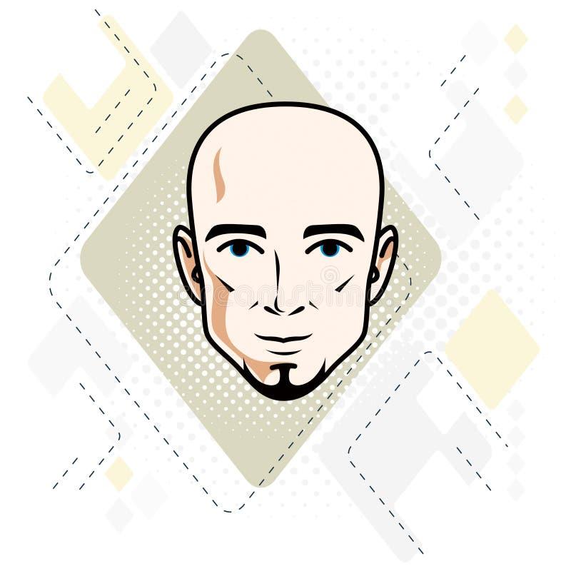 Kaukaska mężczyzna twarz, wektorowa ludzkiej głowy ilustracja Atrakcyjny h ilustracja wektor