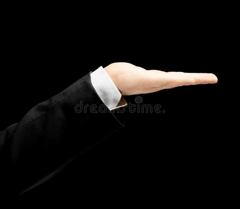 Kaukaska męska ręka w garniturze odizolowywającym fotografia royalty free