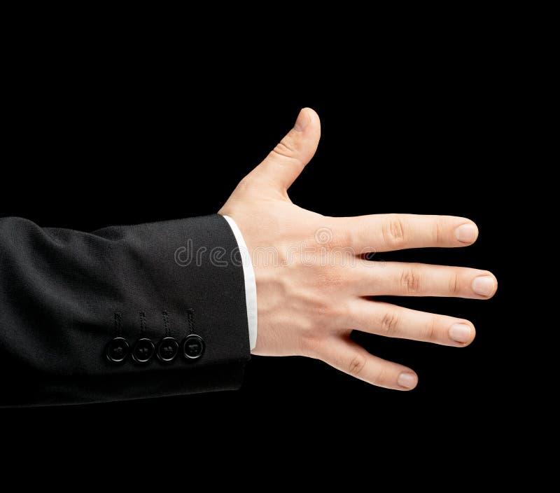 Kaukaska męska ręka w garniturze odizolowywającym zdjęcie stock