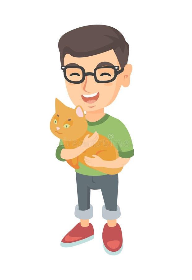 Kaukaska szczęśliwa chłopiec trzyma kota w szkłach ilustracji