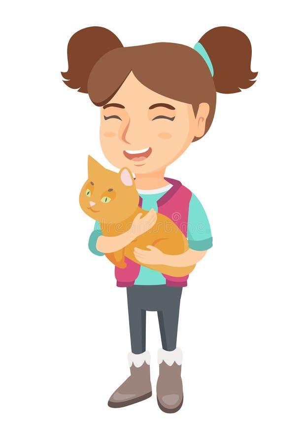 Kaukaska szczęśliwa dziewczyna trzyma kota ilustracja wektor