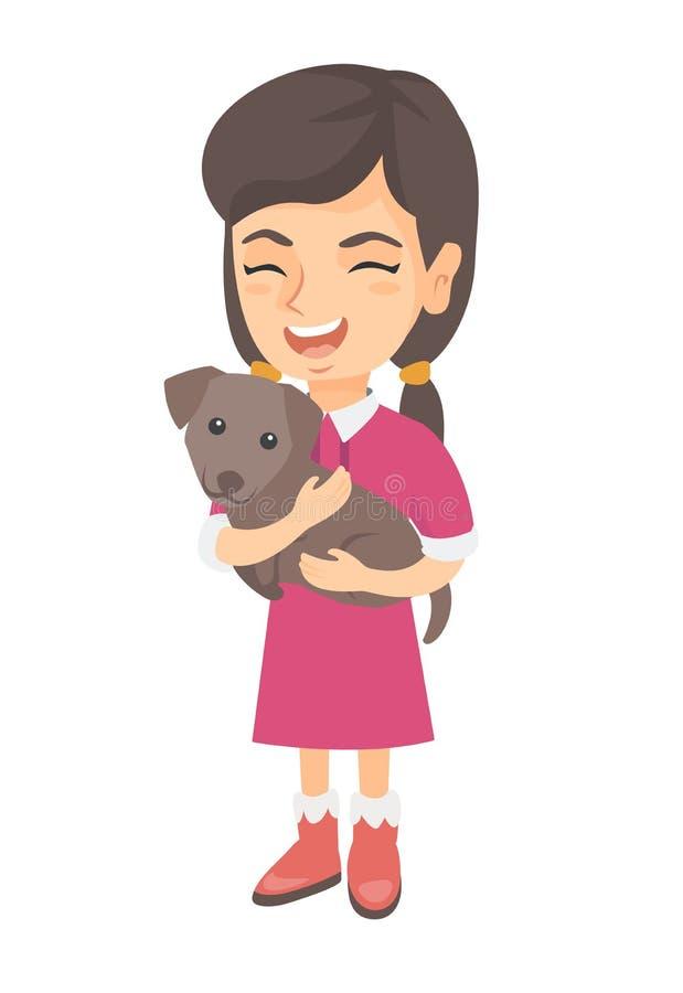 Kaukaska szczęśliwa dziewczyna trzyma psa ilustracji
