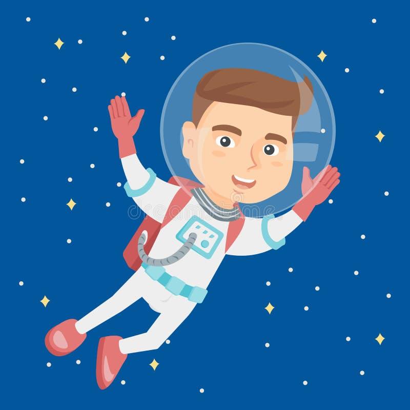 Kaukaski astronauta dzieciak w kostiumu lataniu w przestrzeni ilustracja wektor