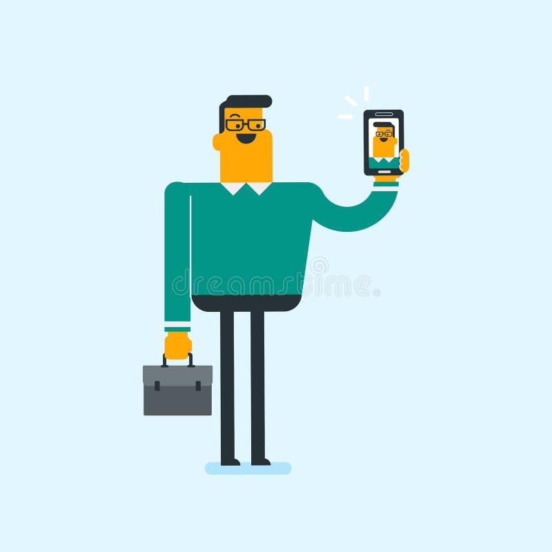 Kaukaski białego człowieka mienia dzwonienia telefon komórkowy ilustracji