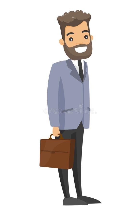 Kaukaski biały biznesmen trzyma teczkę ilustracja wektor