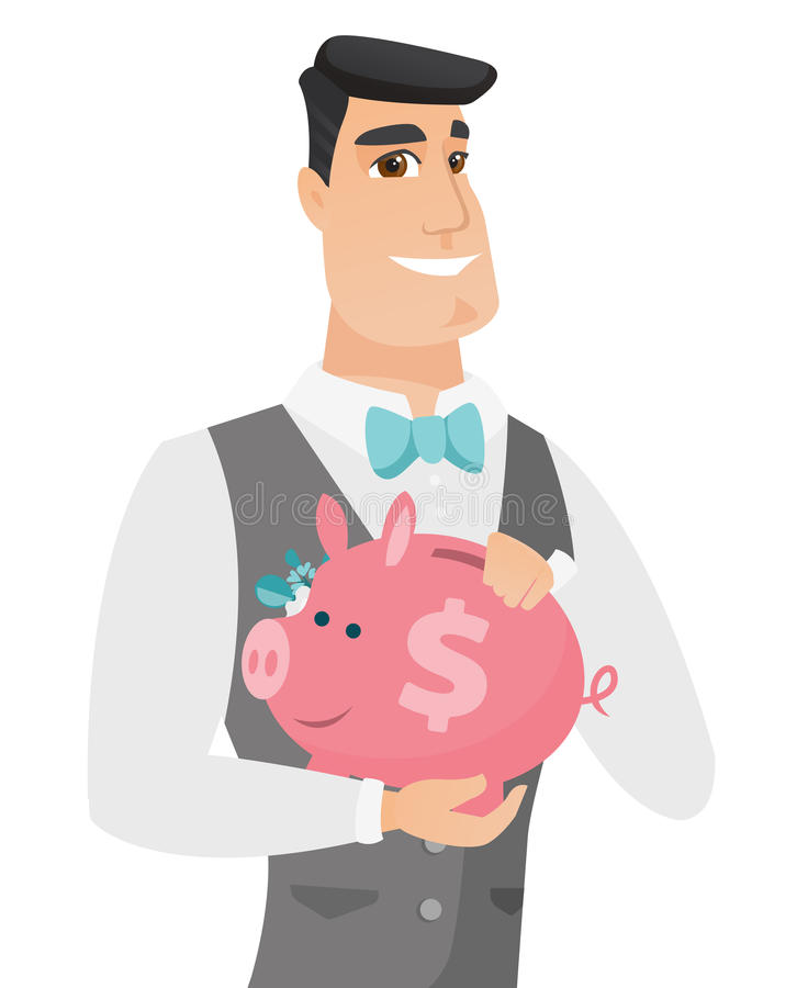 Kaukaski fornal trzyma prosiątko banka ilustracja wektor