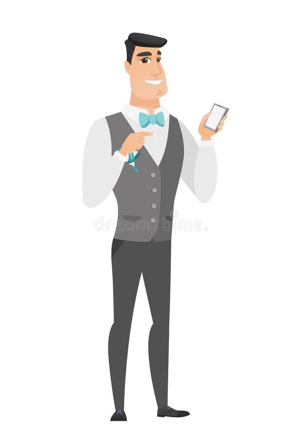 Kaukaski fornal trzyma telefon komórkowego royalty ilustracja
