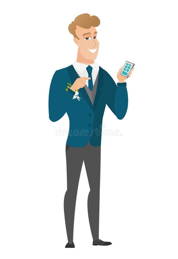 Kaukaski fornal trzyma telefon komórkowego ilustracja wektor