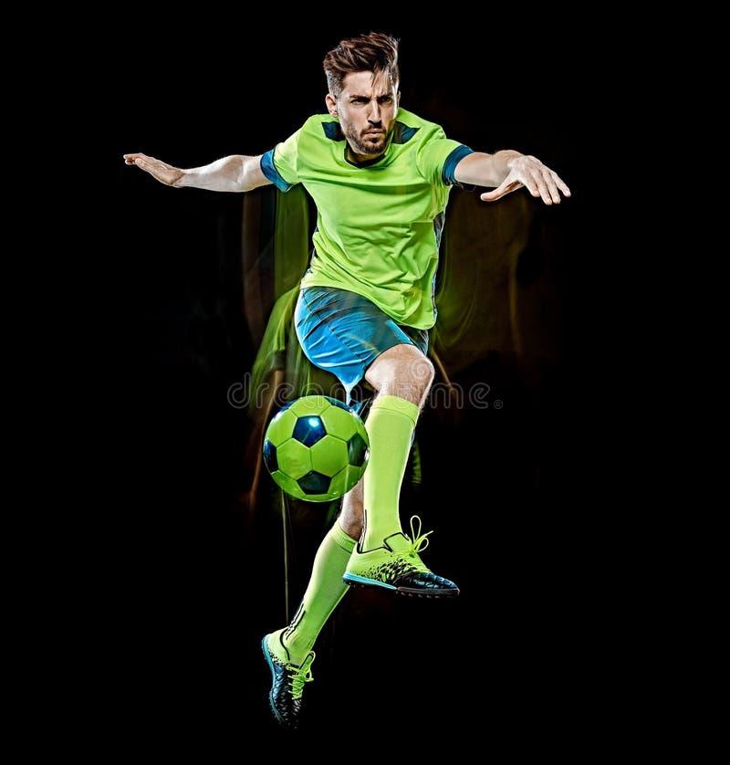 Kaukaski gracz piłki nożnej mężczyzna odizolowywał czarnego tła światła obraz obraz royalty free