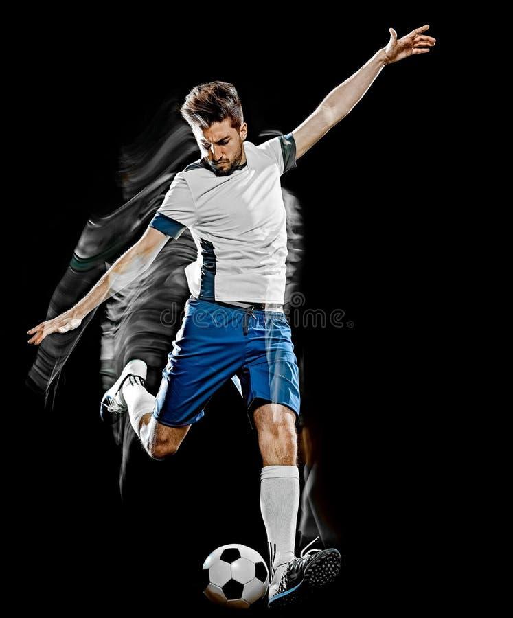 Kaukaski gracz piłki nożnej mężczyzna odizolowywał czarnego tła światła obraz zdjęcie royalty free