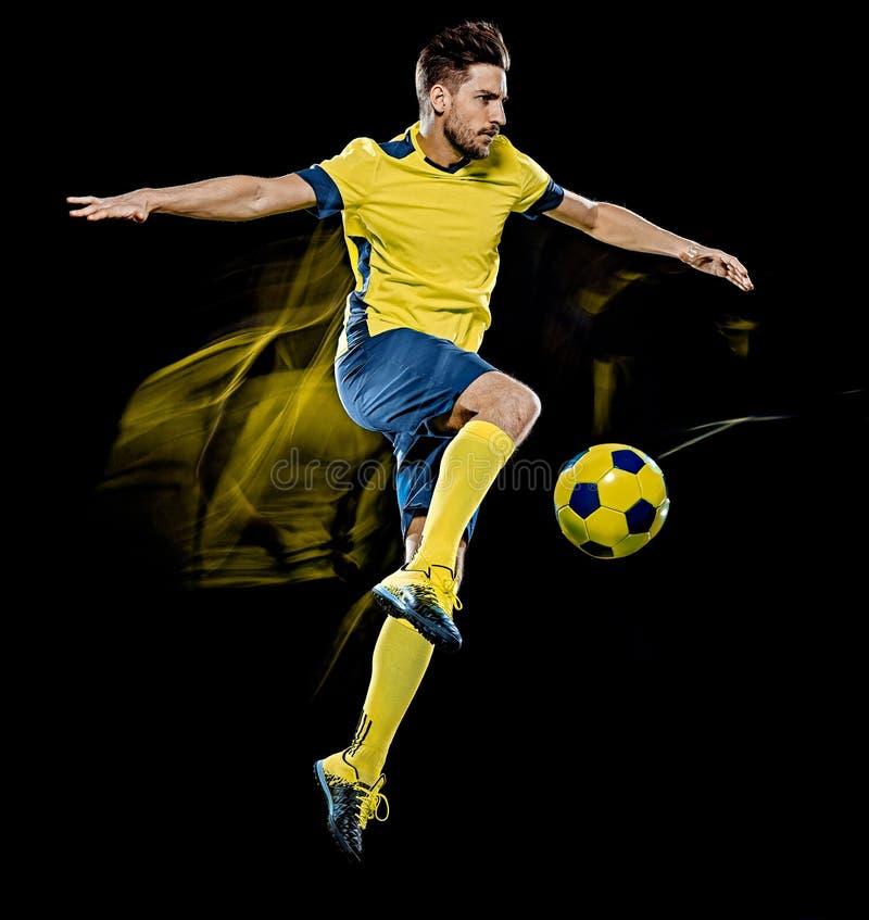 Kaukaski gracz piłki nożnej mężczyzna odizolowywał czarnego tła światła obraz fotografia stock