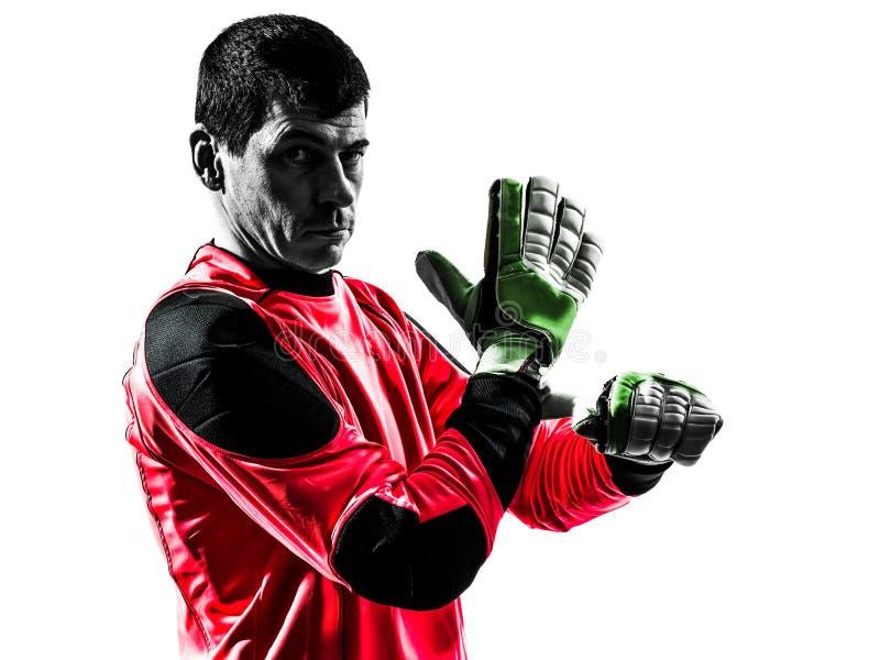 Kaukaski gracza piłki nożnej bramkarza mężczyzna przystosowywać obraz royalty free
