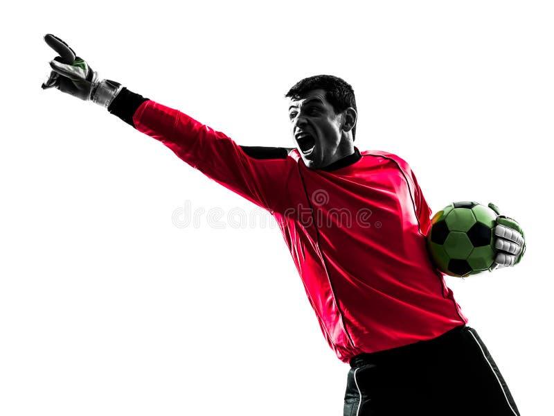 Kaukaski gracza piłki nożnej bramkarza mężczyzna wskazuje sylwetkę fotografia royalty free