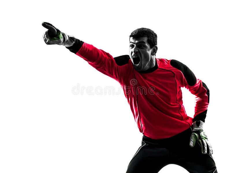 Kaukaski gracza piłki nożnej bramkarza mężczyzna wskazuje sylwetkę fotografia stock