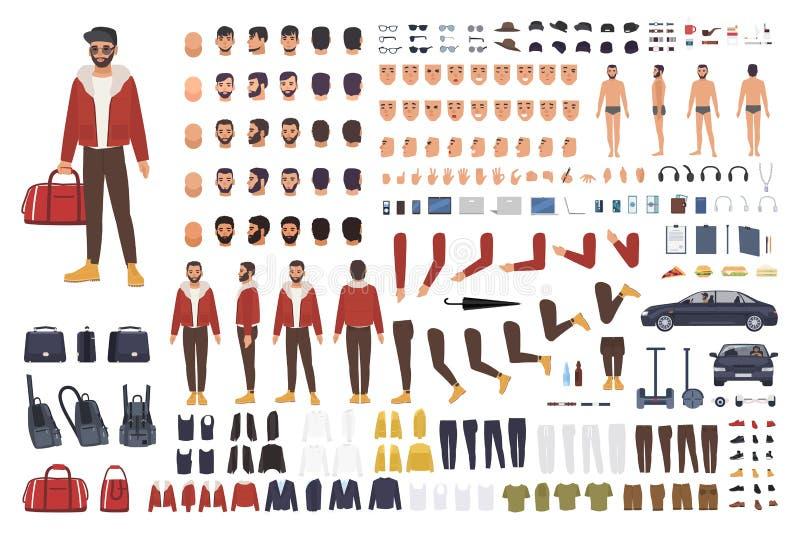 Kaukaski mężczyzna tworzenia set lub DIY zestaw Kolekcja płaskie postać z kreskówki części ciała, twarzowi gesty, fryzury royalty ilustracja