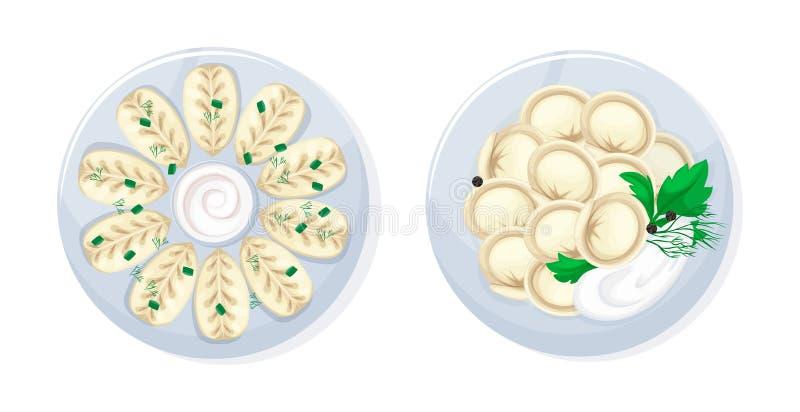 Kaukaski rosyjski kuchenny tradycyjny smakowity karmowy kura i kluchy royalty ilustracja