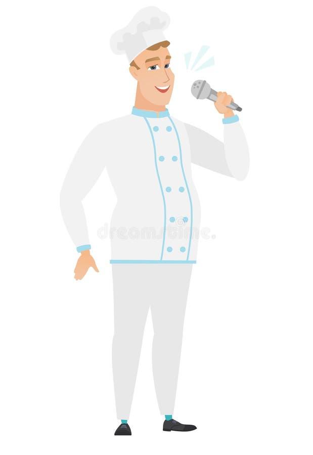 Kaukaski szefa kuchni kucharz śpiewa mikrofon ilustracja wektor