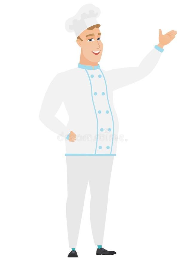 Kaukaski szefa kuchni kucharz pokazuje kierunek royalty ilustracja